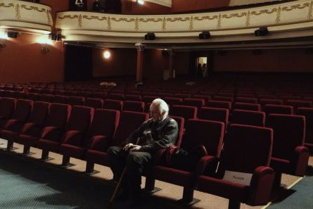 Foto zeigt Naum Kleiman im ältesten Kino Moskaus